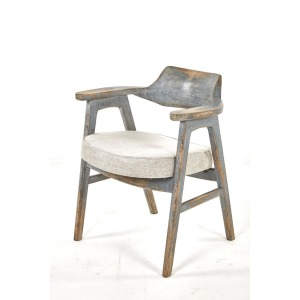 Wagner Arm Chair Distressed Blue / Anew Grey