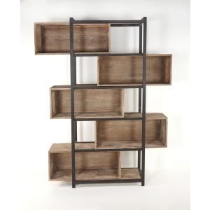 Mary Lou Cube Bookcase w/ Adjustable Shelves Iron / Grey Wash