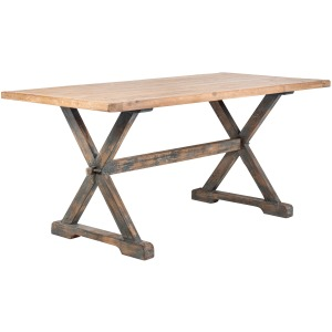 """Mimi 79"""" Rect Counter Table Natural Top / Antique Blue Base"""