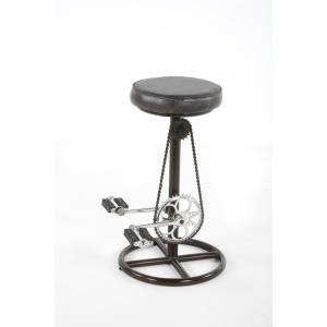 "Spencer 26""H Bike Stool Black Leather/Iron"