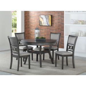 Gia Round Dining Table 5 PC Set - Gray