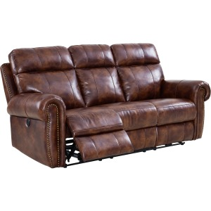 Roycroft Power Dual Recliner Sofa in Pecan