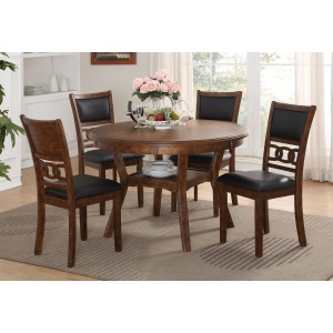 Gia Round Dining Table 5 PC Set - Brown