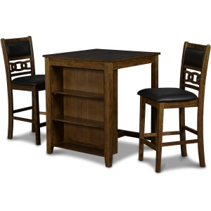 "Gia 30"" Counter Table w/2 Chairs & Storage Shelf - Brown"