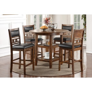 Gia Counter Table 5 PC Dining Set - Brown