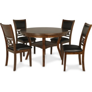 Gia Round 5 PC Dining Set - Brown