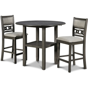"""Gia 42"""" Counter Dropleaf Table & 2 Chairs - Gray"""