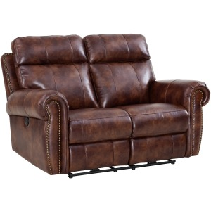 Roycroft Recliner Loveseat w/Power Foot Rests - Pecan