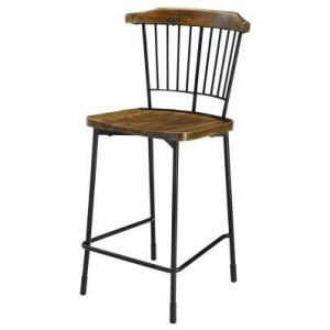 Greco KD Counter Stool Frosted Black Legs - Walnut