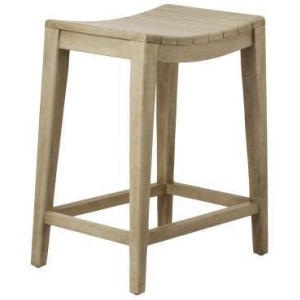 Elmo Wooden Counter Stool - Washed Gray