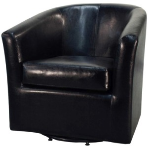 Hayden Swivel Bonded Leather Chair, Black