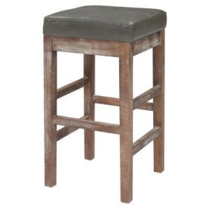 Valencia Bonded Leather Counter Stool Drift Wood Legs - Vintage Gray