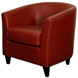 Orson Bonded Leather Tub Chair Black Legs, Vintage Red