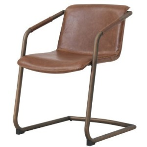 Indy PU Dining Side Chair Rubbed Gold Frame, Antique Cigar Brown