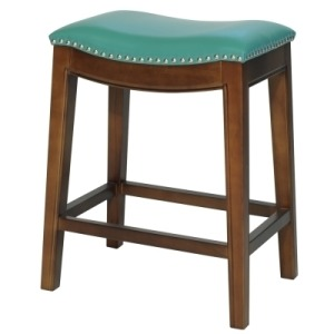 Elmo Bonded Leather Counter Stool -Turquoise