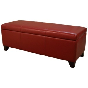 Luisa Bonded Leather Storage Ottoman 48