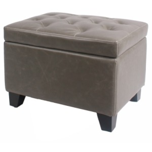 Julian Rectangular Bonded Leather Storage Ottoman, Vintage Gray