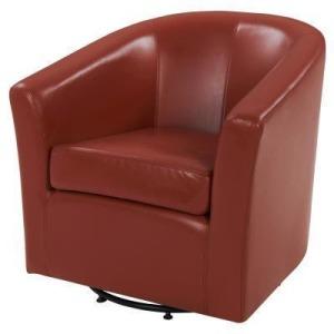 Hayden Swivel Bonded Leather Arm Chair - Pumpkin