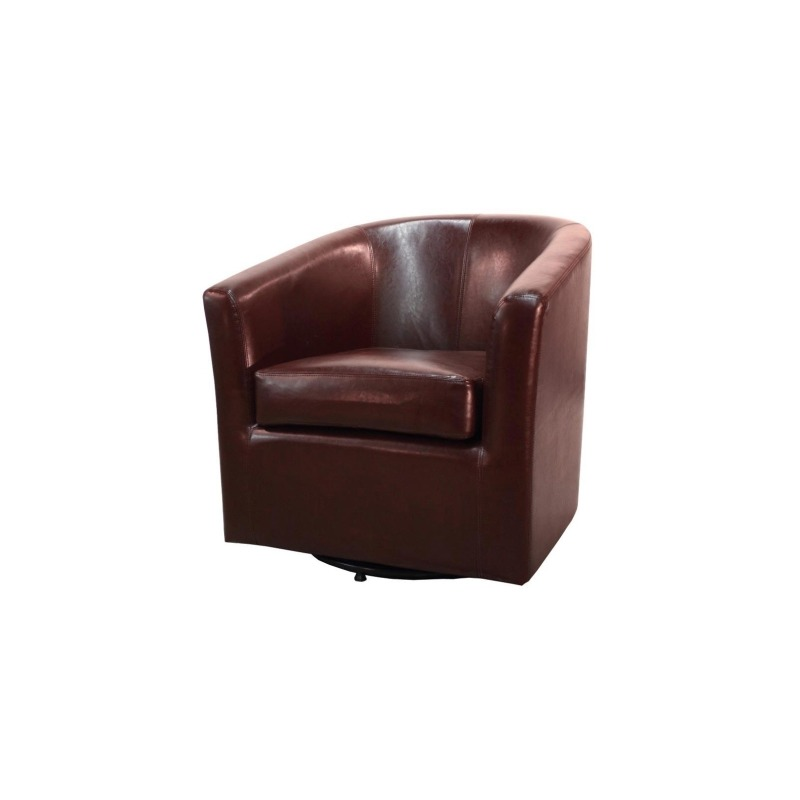 Hayden SWIVEL Bonded Leather Chair, Saddle Brown