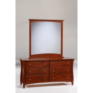 Clove 6 Drawer Dresser with Mirror in Cherry