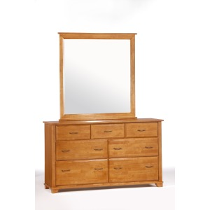 Juniper 7 Drawer Dresser with Mirror in Medium Oak