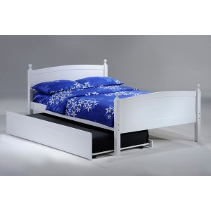 Licorice Twin Bed with Trundle in White