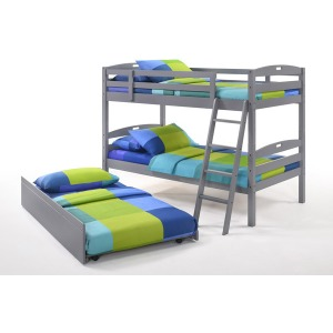 Sesame Twin Twin Bunk Bed with Trundle in Gray