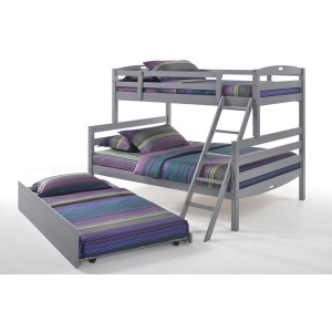 Sesame Twin Full Bunk Bed with Trundle in Gray