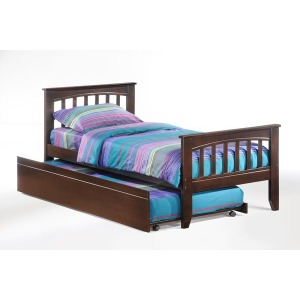 Sasparilla Twin Panel Bed with Trundle in Dark Chocolate