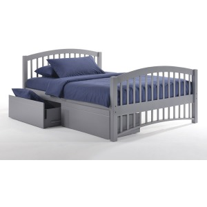 Molasses Twin Panel Bed with Rolling Storage Drawers in Gray