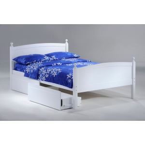 Licorice Twin Bed  with Rolling Storage Drawers in White