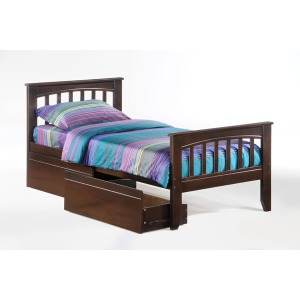 Sasparilla Twin Panel Bed with Storage Drawers in Dark Chocolate