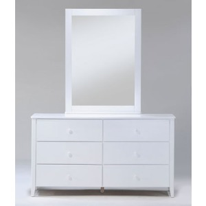 Zest 6 Drawer Dresser with Mirror in White
