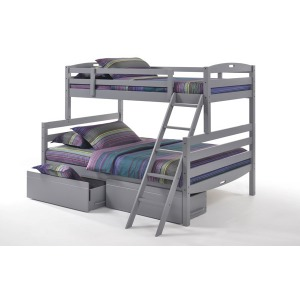 Sesame Twin Full Bunk Bed with Storage Drawers in Gray
