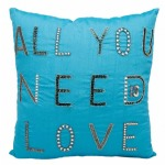 """All You Need is Love"" Turquoise Luminescence Pillow"