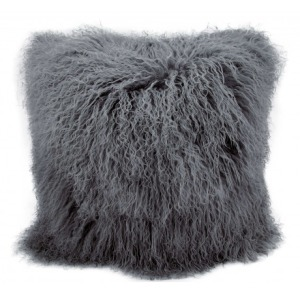 Silver Grey Couture Fur Pillow