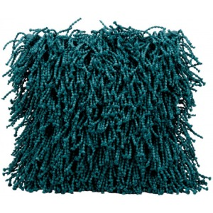 Teal Shag Pillow