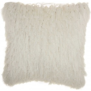 White Shag Pillow