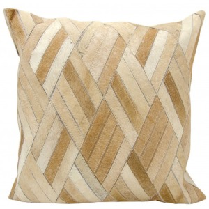Beige Natural Leather & Hide Pillow
