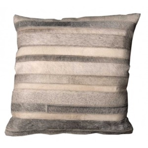 Grey Natural Leather & Hide Pillow