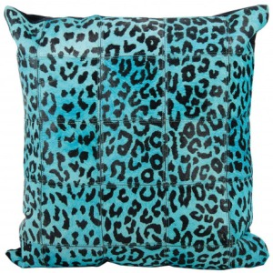 Turquoise Natural Leather & Hide Pillow