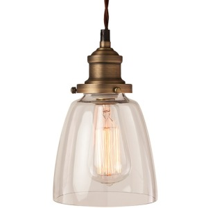 Emilee Pendant - Clear Glass Shade Antique Style Housing Brown Twisted Cable
