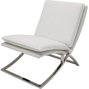 Neo Lounge Chair - White Nauga Polished Stainless Steel