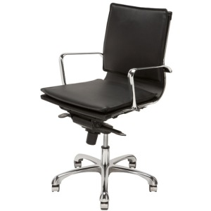 Carlo Office Chair - Black Leather