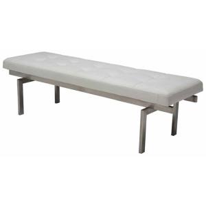 Louve Bench - Brushed Stainless White Nauga