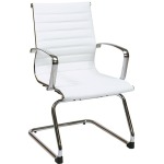 Mid-Back White Eco Leather Visitors Chair