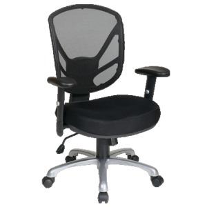 Screen Back Chair with Aluminum Finish Base