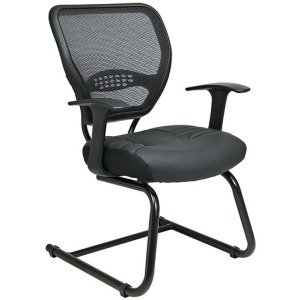 Professional Air Grid Back Visitors Chair with Leather Seat