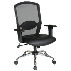 Screen Back Chair with Black Leather Seat and Chrome Finish Base