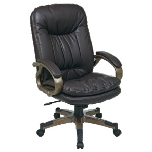 Executive Espresso Eco Leather Chair with Locking Tilt Control and Coated Base